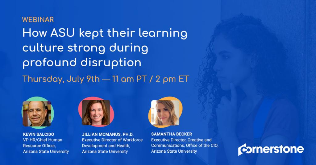 """A strong workplace culture is not easy to maintain during """"normal"""" circumstances, let alone during profound disruption. Join us for a discussion with #HR and #IT leadership from @ASU to learn how they embraced disruption and empowered their 30K+ employees. https://t.co/csIlDgkIbh https://t.co/yHx0IOyKbo"""