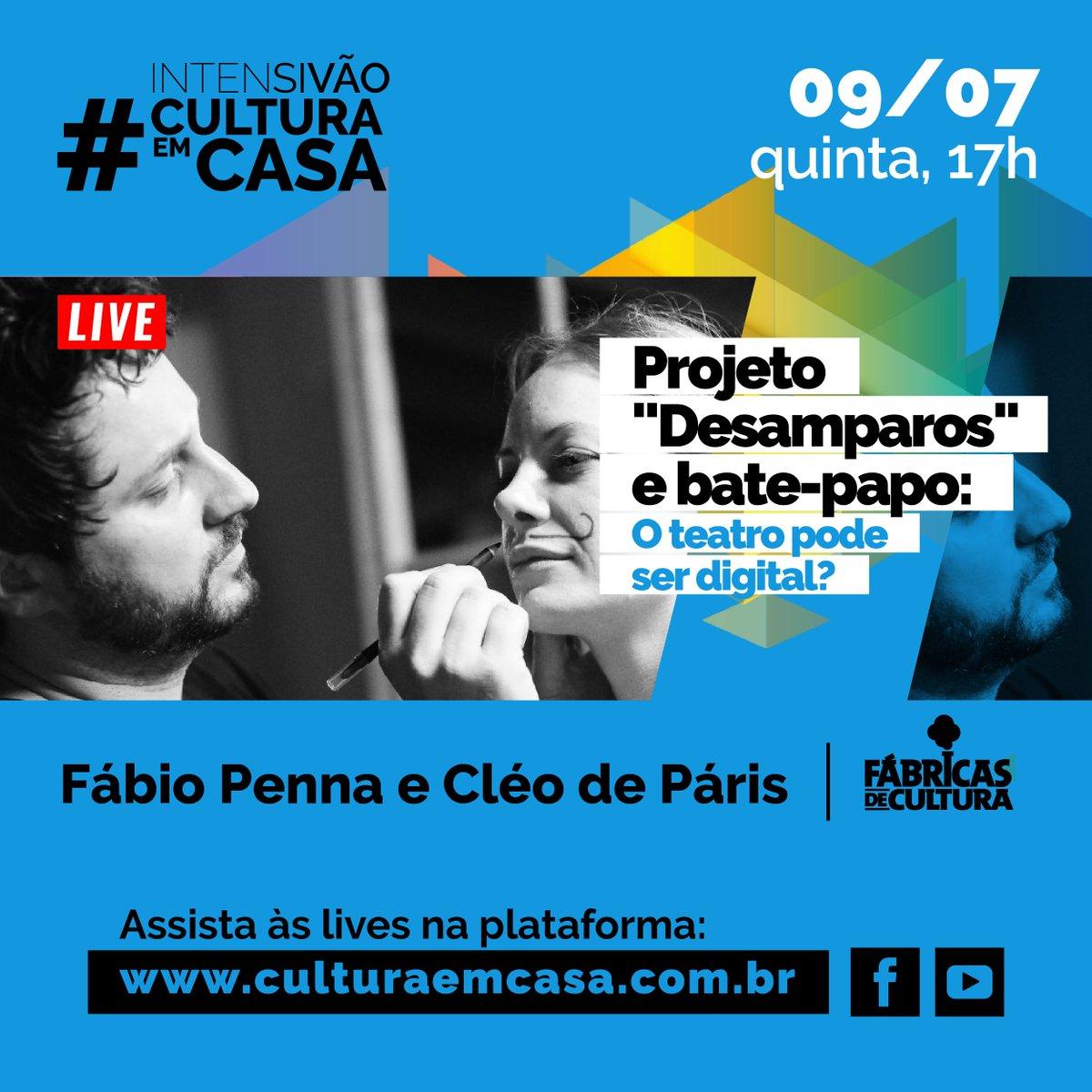 O teatro pode ser digital?  Nesta quinta no #CulturaEmCasa vamos conversar com Fábio Penna e Cléo de Páris, das Fábricas de Cultura ZL, sobre o projeto Desamparos e nova formas de fazer teatro nas plataformas digitais.  Assista às 17h na plataforma:  http://www.culturaemcasa.com.brpic.twitter.com/ORGKuBPr7e