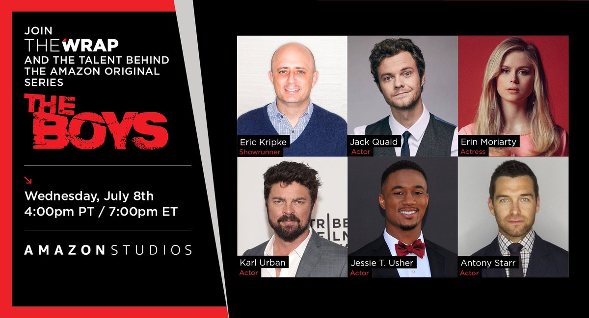 Join us TODAY at 4PT for our next screening! We'll be chatting #theboys with showrunner @therealKripke and actors @JackQuaid92, @ErinMoriarty_, @KarlUrban, Jessie T Usher, and @antonystarr!   RSVP HERE!