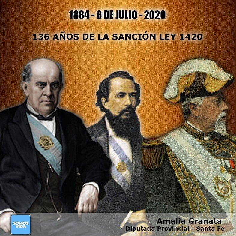 Hoy 8 de Julio, celebramos los 136 años de la sanción de la Ley 1420 que establece en Argentina, la Educación Primaria, Gratuita y Obligatoria que sentó las bases para la Alfabetización y el Progreso de la República y sus habitantes. https://t.co/RCdnCB39cY