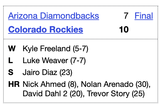 In today's 2020 @ootpbaseball sim, the #Rockies won thanks to two HRs from David Dahl, as well as Nolan Arenado's 30th, one behind Pete Alonso for the lead  Vote for Arenado, Dahl, Alonso, & your other faves to play in our simulated All-Star Game https://t.co/IGdIp6oRjY https://t.co/HLi0yMgpBT