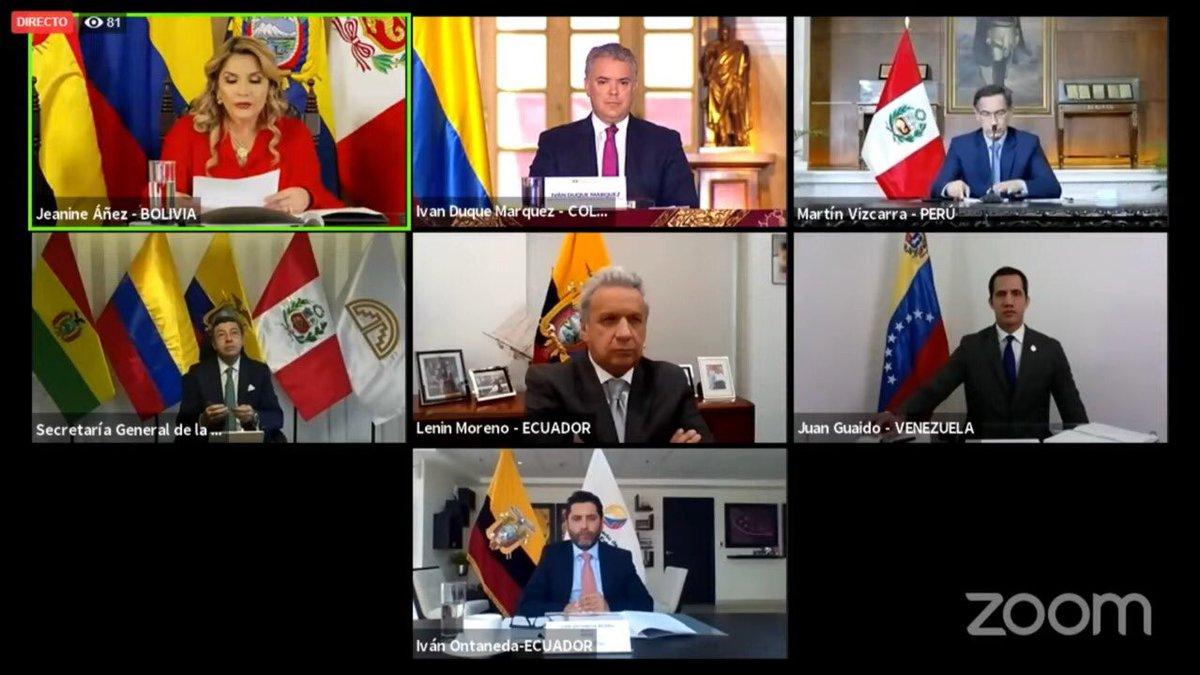 Con los mandatarios @JeanineAnez de Bolivia, @Lenin de Ecuador, @MartinVizcarraC de Perú y @jguaido de Venezuela participamos de la XX Reunión del Consejo Presidencial Andino. Intercambiamos ideas  fundamentales para los procesos regionales y el fortalecimiento de la región. https://t.co/yaBqsb2sks