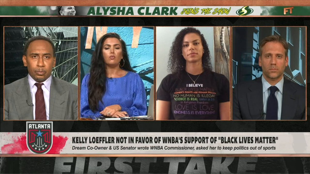"""""""To have a co-owner whose beliefs and what she thinks affect most of the league is unacceptable. She has to go.""""  @Alysha_Clark thinks the league needs to remove Kelly Loeffler. (via @FirstTake) https://t.co/2v2PjMIkRm"""