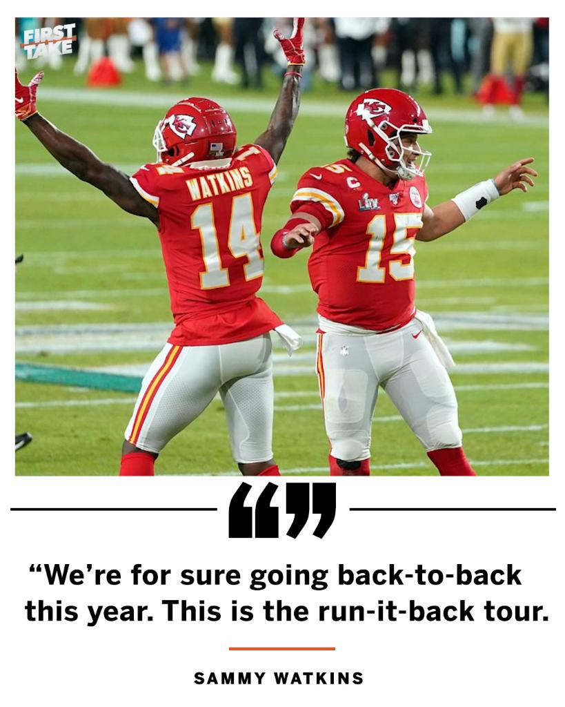 .@sammywatkins says the Chiefs are going back-to-back this year.