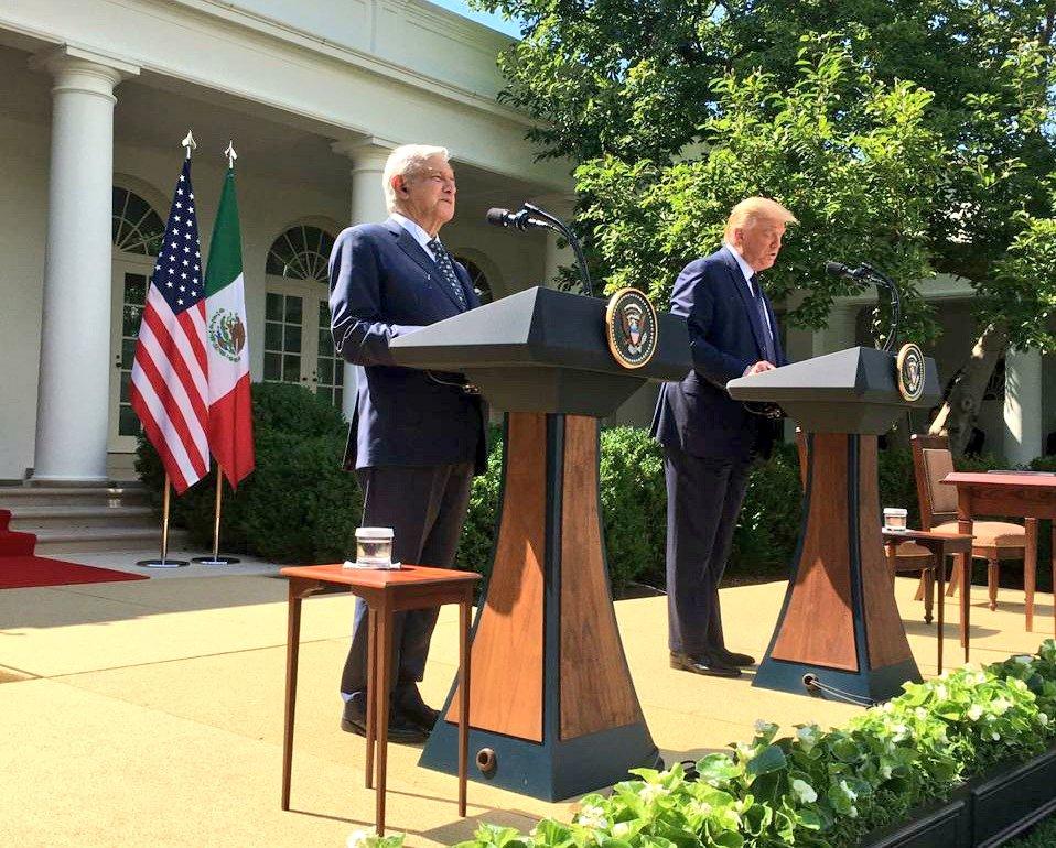 Han iniciado los mensajes de los presidentes en el Rose Garden en la Casa Blanca. @lopezobrador_ @potus @realDonaldTrump #VisitaWashington #InicioTMEC
