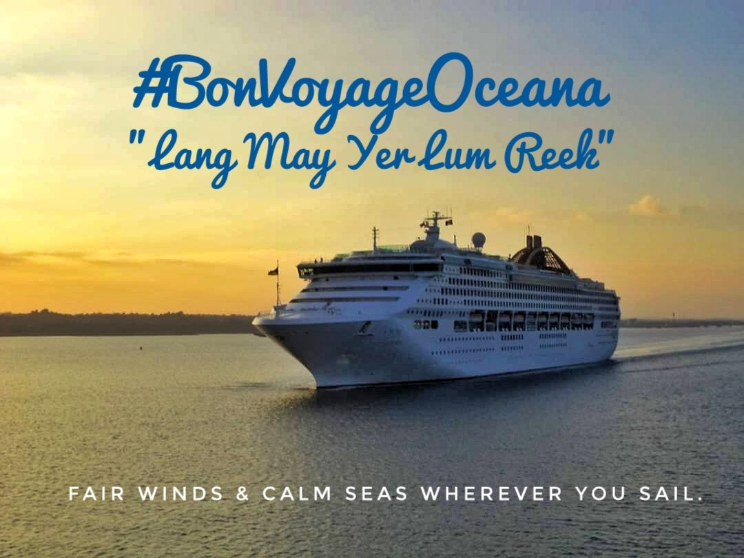 """A Bon Voyage to Oceana who left Southampton for the final time in P&O colours this evening and is now believed to be Piraeus bound.   As we say in Scotland - """"Lang May Yer Lum Reek"""" - the very best for the future.   #FarewellOceana #EndOfAnEra #PasturesNew #Cruisemarshpic.twitter.com/kfLtVdhtep"""