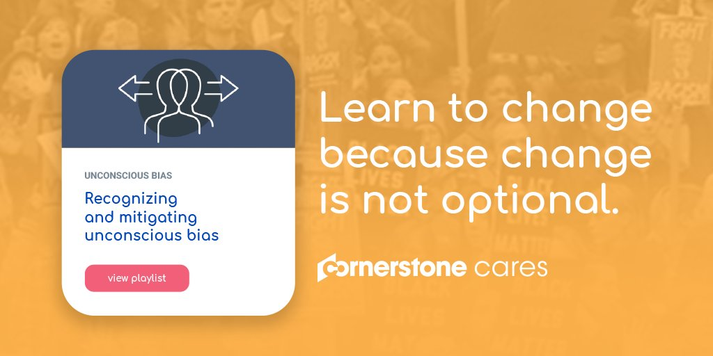 Through our Cornerstone Cares platform, we are making unconscious bias training available for free to individuals and organizations to access anytime, anywhere. Sign up today: https://t.co/VR8kRxVQbY #unconsciousbias #Cornerstonecares https://t.co/PKYRTdAsDR