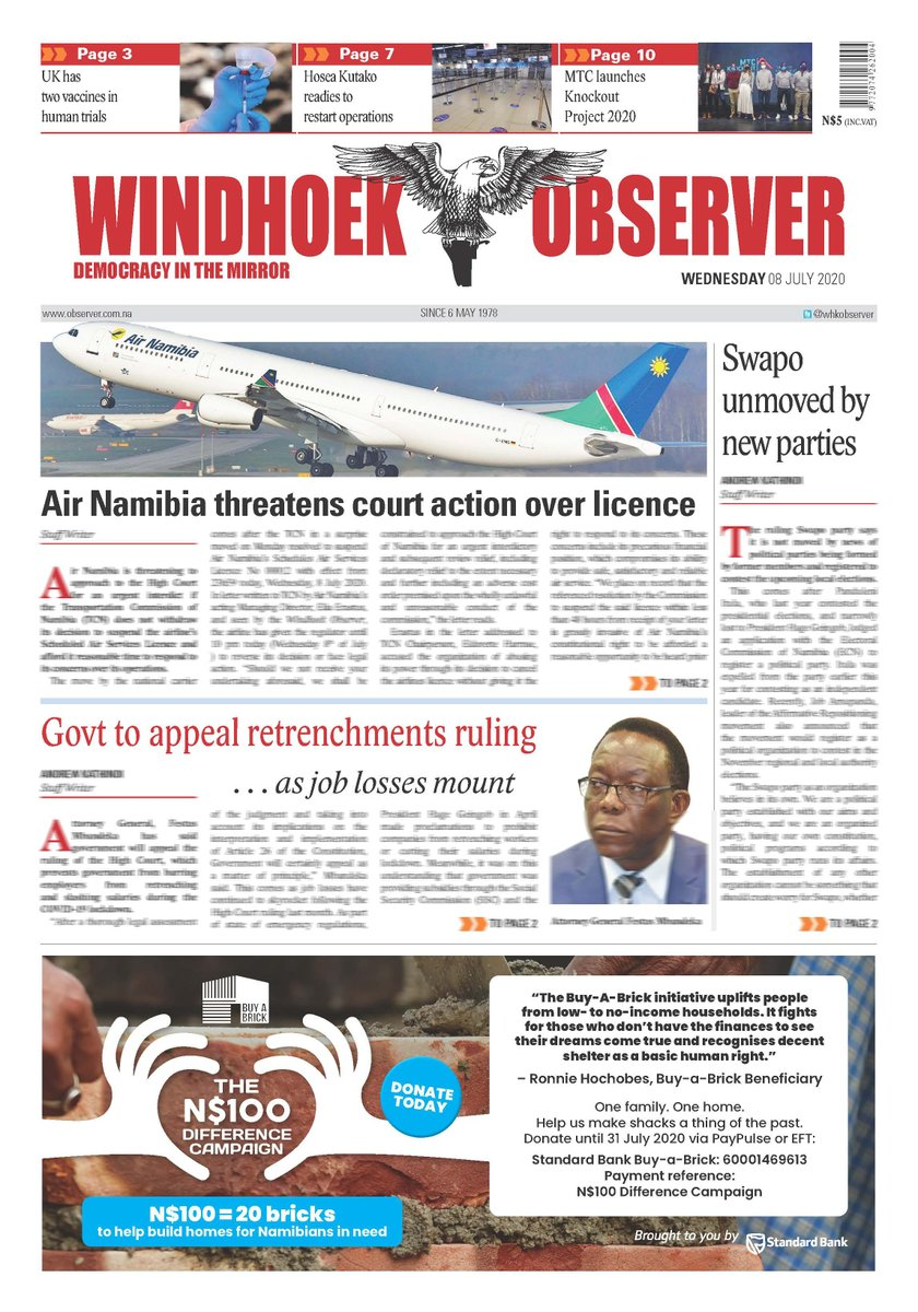 #AirNamibia threatens court action over #licence   Windhoek Observer Wednesday 08 July 2020 http://www.observer24.com.na/e-newspaperpic.twitter.com/zSC8s2jMzz