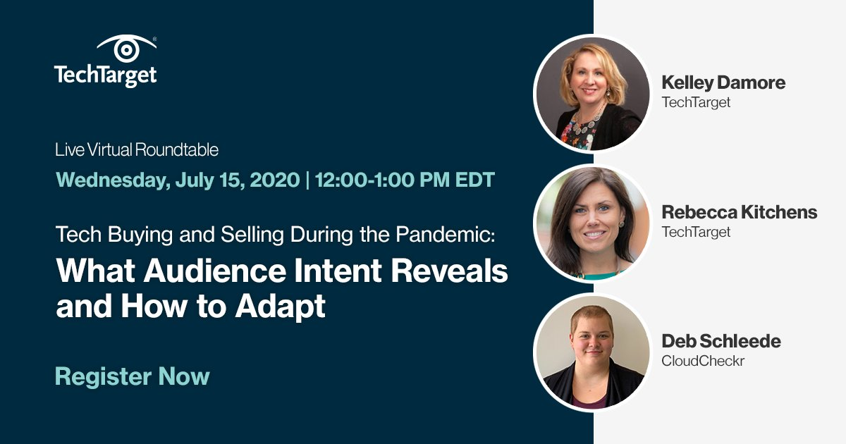 #Webinar: Learn how to leverage #IntentData to uncover new buying centers and entry points for your #sales team.   Sign up now: https://t.co/6mydu0eGoJ   💭 Insights from: @debschleede of @cloudcheckr, @Kelley_Damore & @rkitchensTTGT of @TechTarget  #DemandGen #COVID19 https://t.co/vU4C4PDd80