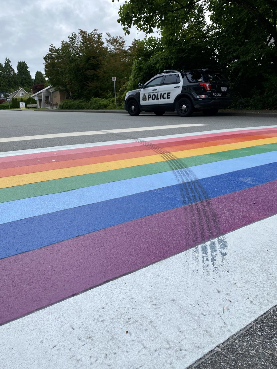 Investigators would like to speak with the driver responsible for defacing a recently installed Pride crosswalk at 16th St. and Esquimalt Ave. If you have information, please call 604-925-7300. https://t.co/ywkNR4DMAv https://t.co/ViW0ZxcxYN