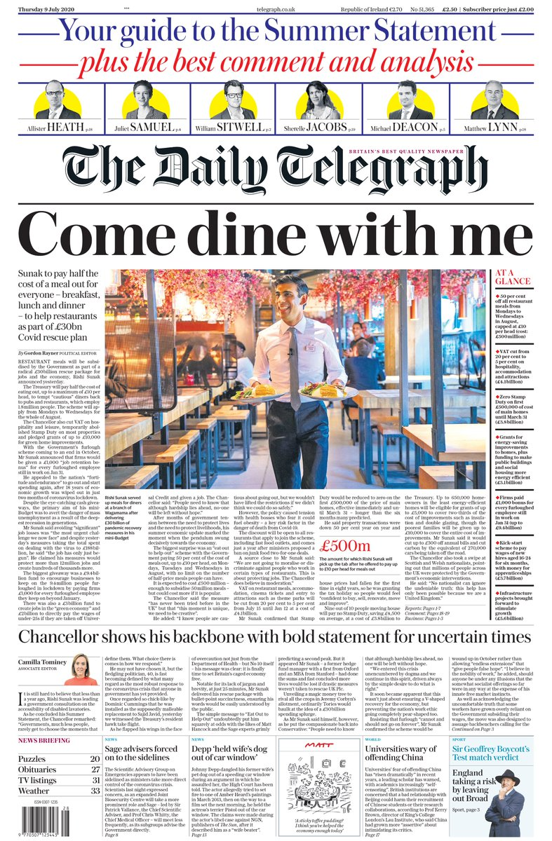 "Tomorrow's Telegraph front page: ""Come dine with me' #TomorrowsPapersToday"