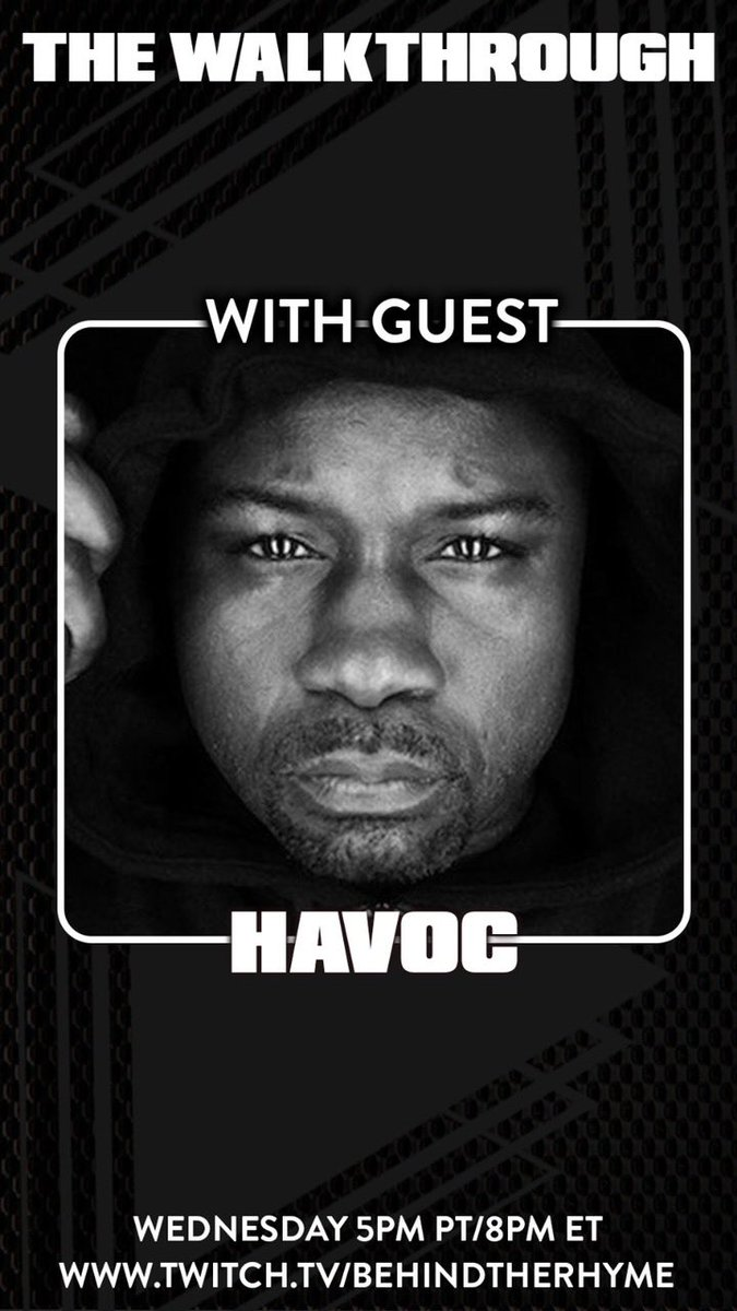 Peace everybody. Catch Havoc on #TheWalkthrough tonight with the bro @shaheemreid. As they celebrate producers and DJs tonight. Tune in at 8pm est sharp here