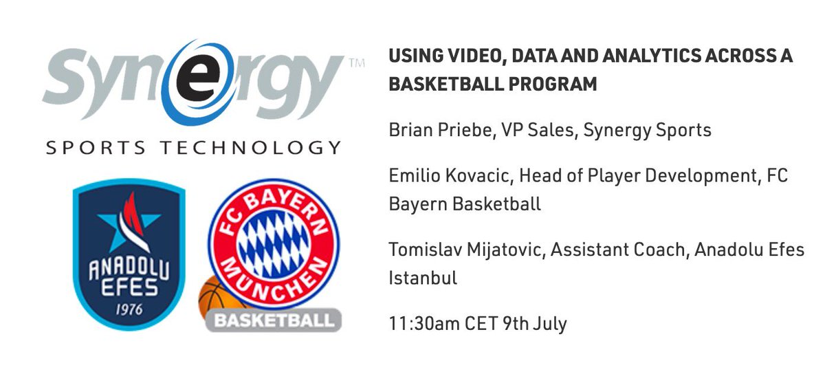 Learn about the use of video & data analytics 📊 in Europe's elite-level basketball 🏀 in a @sportstechws webinar on Thursday. My colleague @Synergy_Brian will chat w/ Tomislav Mijatović (@AnadoluEfesSK) and Emilio Kovačić (@fcb_basketball).  Registration: https://t.co/EGG7yqHWgD https://t.co/iHXmGphumT