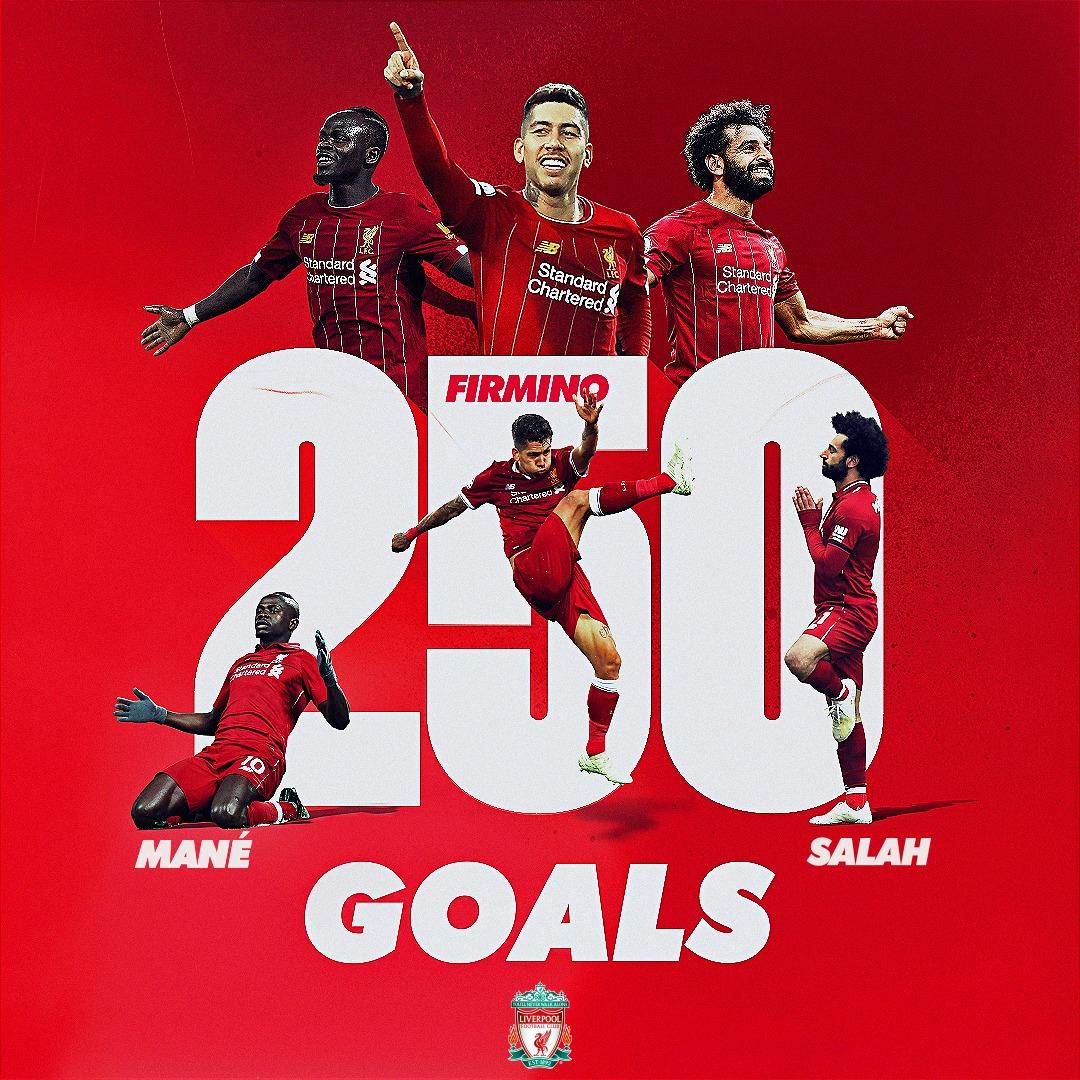 2️⃣5️⃣0️⃣ combined goals in all competitions under Jürgen Klopp! 9️⃣4️⃣ Salah 👑 7️⃣9️⃣ Mane ⚡️ 7️⃣7️⃣ Firmino 😎