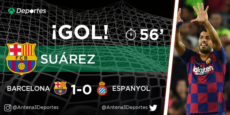 ¡GOL de Luis Suárez (Barcelona)! Barcelona - Espanyol 1-0. En directo: https://t.co/Nv4Ozz4kW9 https://t.co/S5sVGnooz8