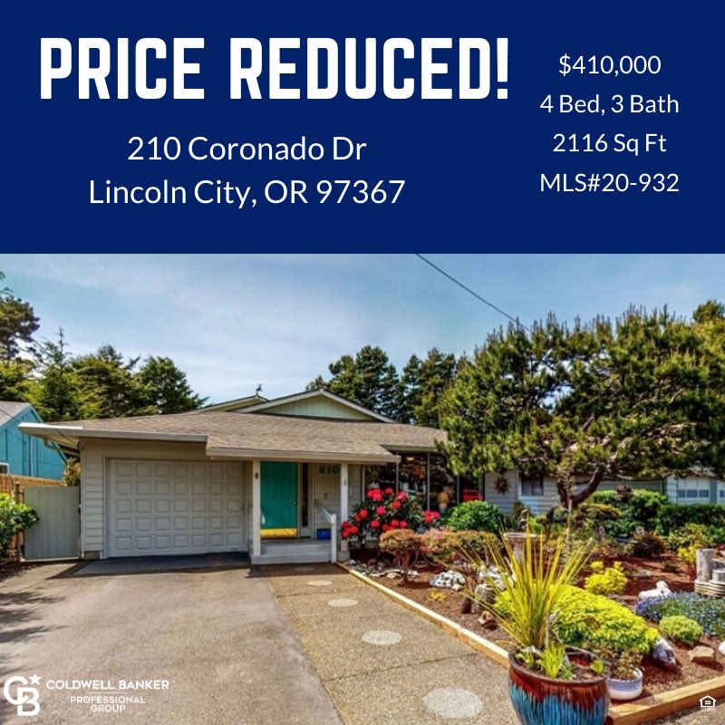 Price Reduced! $410,000  4 Bed, 3 Bath  2116 SqFt  MLS#20-932  For more information please contact:   Judy Vial  Cell: 541-760-7150 Office: 541-994-7760 Judy.Vial@ColdwellBanker.com  #pricereduced #oregonrealestate #oregoncoast #coastalliving #lincolncityoregon #househuntingpic.twitter.com/luZt7kRinl