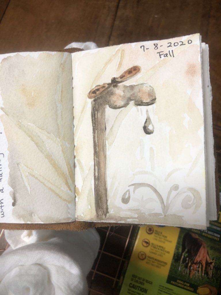Here's today's sketch for #WorldWatercolorMonth The word was 'fall'. I went with a drop of water falling, rather than depicting the fall season, which was my first thought.pic.twitter.com/yzin8lkKix