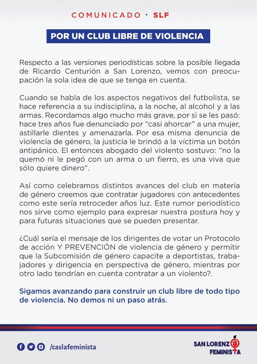 """[#SanLorenzo🇦🇷] La agrupación de socias e hinchas del """"Ciclón"""", San Lorenzo Feminista, publicó un comunicado en contra de la posible contratación de Ricardo Centurión, uno de los futbolistas que está en el radar del """"Cuervo"""". #CASLA https://t.co/Lyyz1zbkmd"""