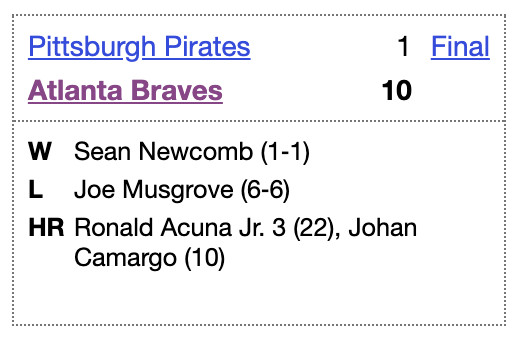 In today's 2020 @ootpbaseball sim, the #Braves smashed the Pirates thanks to a THREE HR GAME from Ronald Acuña. IRL just 4 Braves since 2000 have hit 3 HRs in a game  Vote for Acuña and your other faves for our simulated All-Star Game! Ballot: https://t.co/IGdIp6oRjY https://t.co/elEc3dcQ4b