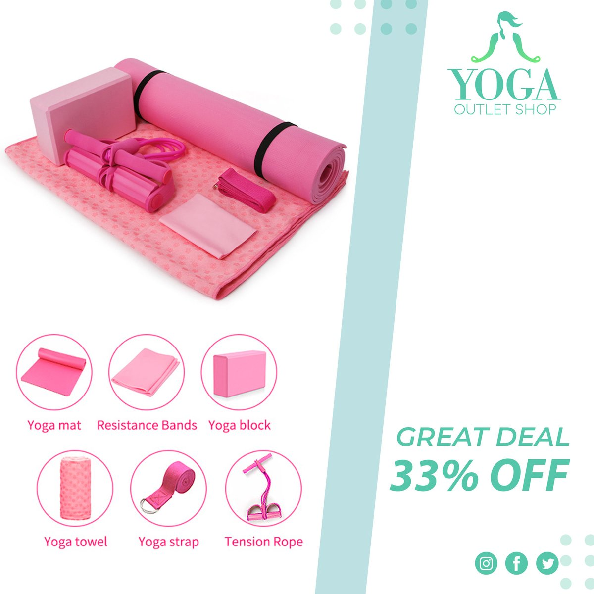 All You Need 7 Pcs Yoga Set 🧘‍♀️ (33% OFF TODAY) ✅ Yoga Ball ✅Yoga Mat ✅Resistance Band ✅Yoga Strap ✅Tension Rope ✅Yoga Towel ✅Block . 🙏 🙏 . . .#yogawear #yoga #activewear #yogapants #gymwear #leggings #sportswear #fitnesswear #gym #yogalove #yogaset