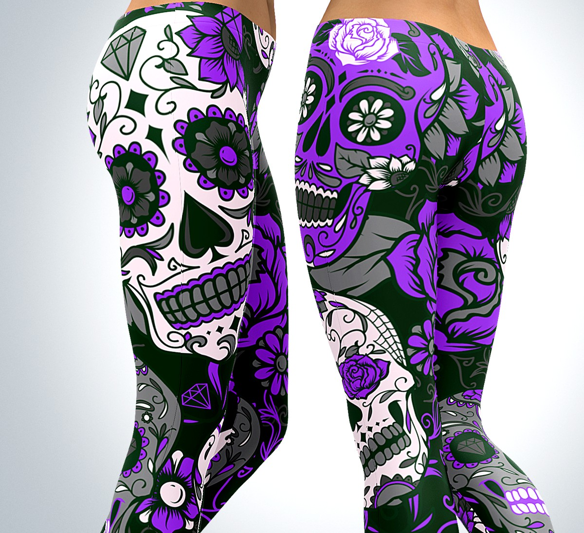 Purple Sugar Skull Leggings 💀 Stand out from the crowd!  Click Here ➡️  #activewear #yoga #gearbunch