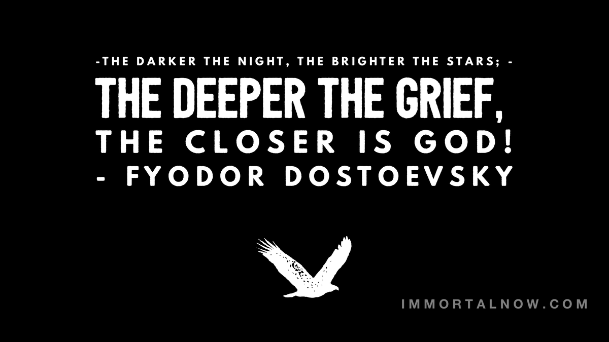 "🙏 🌈  ""The darker the night, the brighter the stars. The deeper the grief, the closer is God!"" - Fyodor Dostoevsky  #immortalnow #WednesdayWisdom #qigong #yoga #selfcare #spirituality #quotes #thesecrettoimmortality #transformation #immortality #personaldevelopment"