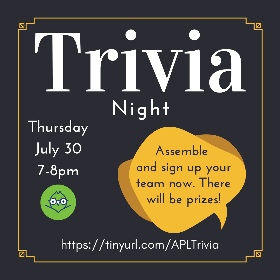 We're hosting a Trivia night on Zoom at the end of the month. Assemble your team and sign up today!    https:// tinyurl.com/APLTrivia      #Trivia #TriviaNight #AlbanyNY <br>http://pic.twitter.com/W5A0y2eklg