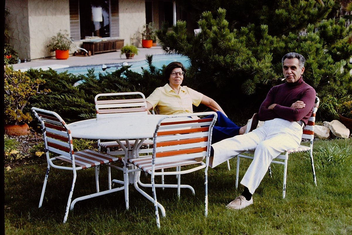 My grandmother and grandfather, Roz & Jack Kirby relaxing by the pool. Thousand Oaks, CA.