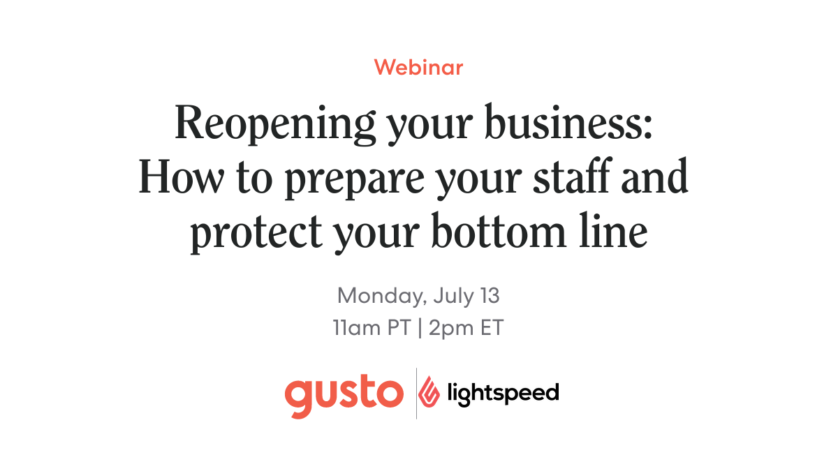 So your business is about to reopen—what next? Join @zewillster of Gusto and Evan Johnston of @lightspeedhq for a special webinar on how to get your company ready for this moment: https://t.co/iZ6W570wdm  #COVID19 #smallbiz #reopening https://t.co/Hc4lAuR087