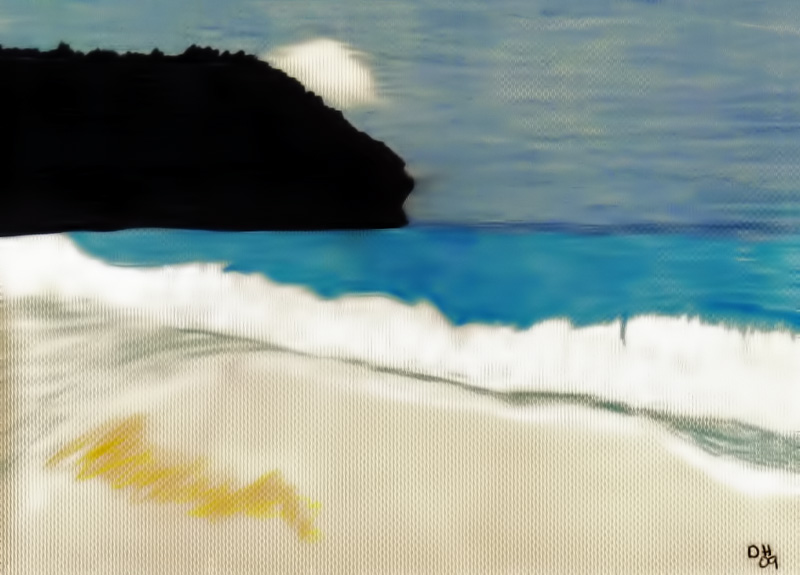 Original drawing of a #Beach #shoreline drawn by hand using Prismacolor Colored Pencils, Soft Pastels, on Textured paper