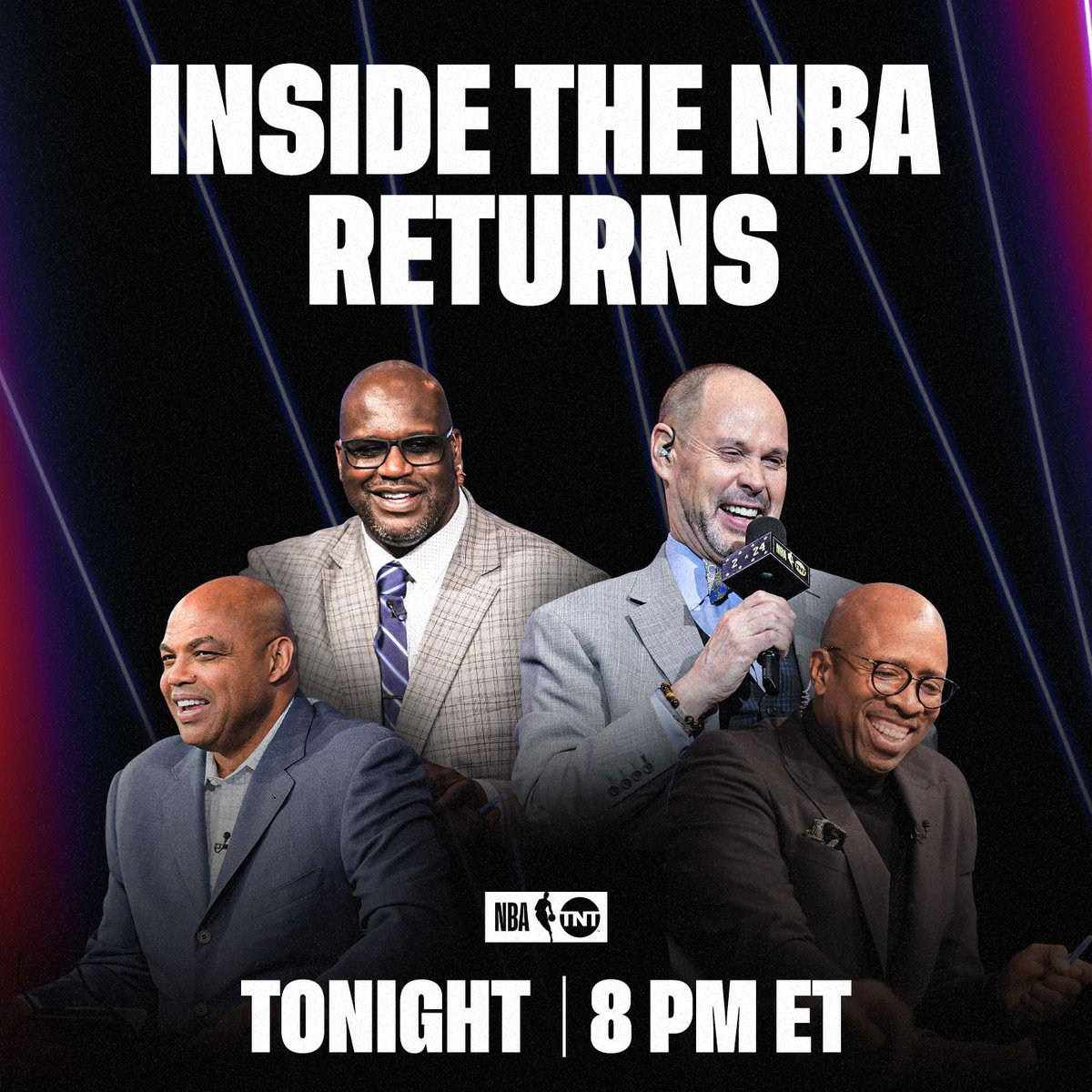 The Inside crew is back in action!🍿  Don't miss@SHAQ, @TheJetOnTNT, @TurnerSportsEJ and Chuck tonight at 8pm ET on TNT. https://t.co/71On2HfXZ1