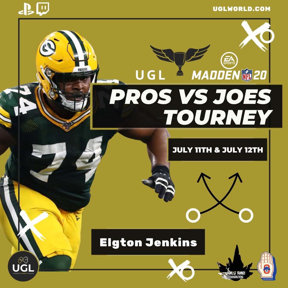 Elgton Jenkins, Guard for Green Bay Packers, on the pro roster — Pros Vs Joes Tourney July 11th & 12th   The #ProsVsJoes tournament donations will provide support to Covid-19 Relief Funds via: @theoaklandpledge @fam1stfam  #UGL #ProsVsJoes #Covid19Relief #FamilyFirst pic.twitter.com/odRIDTNXEL