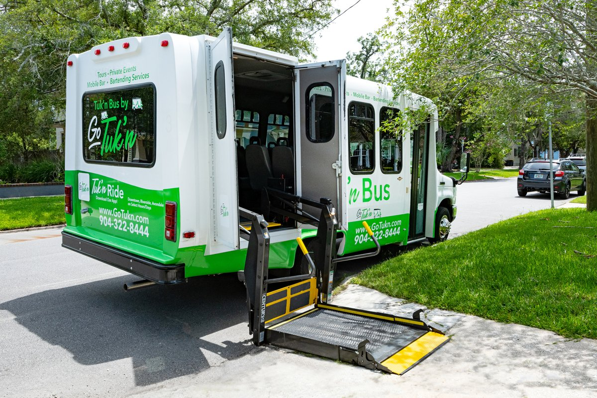 Get promotions, discounts and pre-launch info by texting GOTUKN to 85100. New: Our Tuk'n Bus has a secure lift and two wheelchair areas +12 passengers on itOR a total of 14 passengers. Cool things coming! And following CDC guidelines #gotukn #visitjax #visitflorida #tuknbus https://t.co/MomO4OfDVy