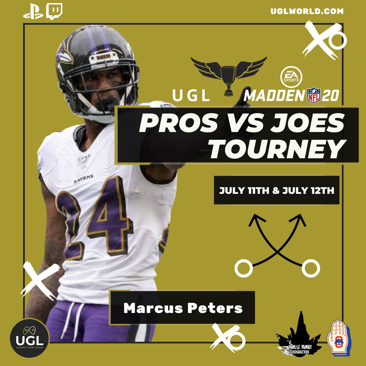 Marcus Peters, Cornerback for Baltimore Ravens, on the pro roster — Pros Vs Joes Tourney July 11th & 12th   The #ProsVsJoes tournament donations will provide support to Covid-19 Relief Funds via: @theoaklandpledge @fam1stfam  #UGL #ProsVsJoes #Covid19Relief #FamilyFirst pic.twitter.com/Og0OJvTZ4s