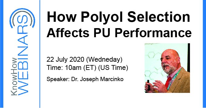 "Dr. Jospeh Marcinko will be presenting a KnowHow Webinar on ""How Polyol Selection Affects PU Performance"" on 22 July 2020 at 10am ET. To register, please visit https://t.co/zUKkJr0Wfu  #polyurethanes #polyurethane #PUsystems #technobiz #knowhowwebinars #polyols https://t.co/SEY6RVt0SC"