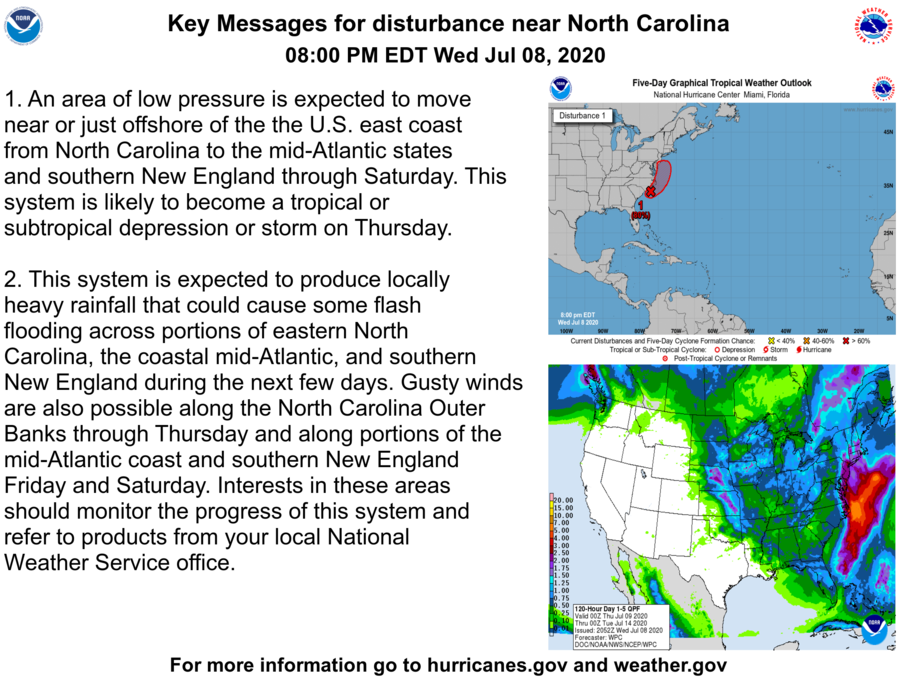 Here are the Key Messages for a low pressure system near North Carolina at 8 pm EDT 7/8.  This system will likely become a tropical or subtropical cyclone on Thursday.  More: https://t.co/tW4KeFW0gB #98L https://t.co/FTBAjVAQ1L