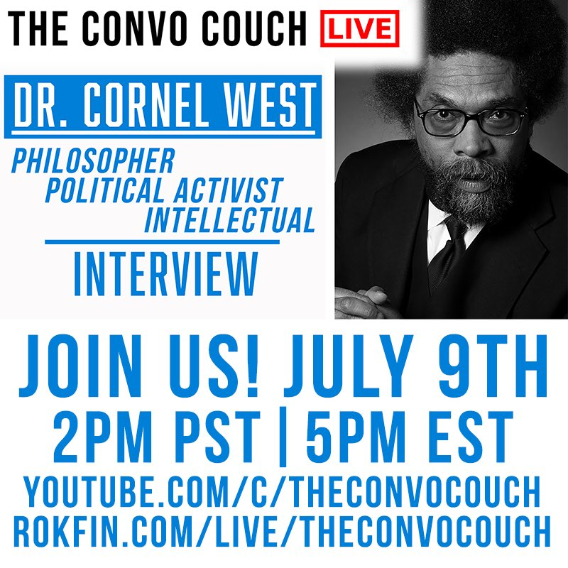 @theconvocouch fam will be chatting with Dr. Cornell West tomorrow! Make sure to tune in people!