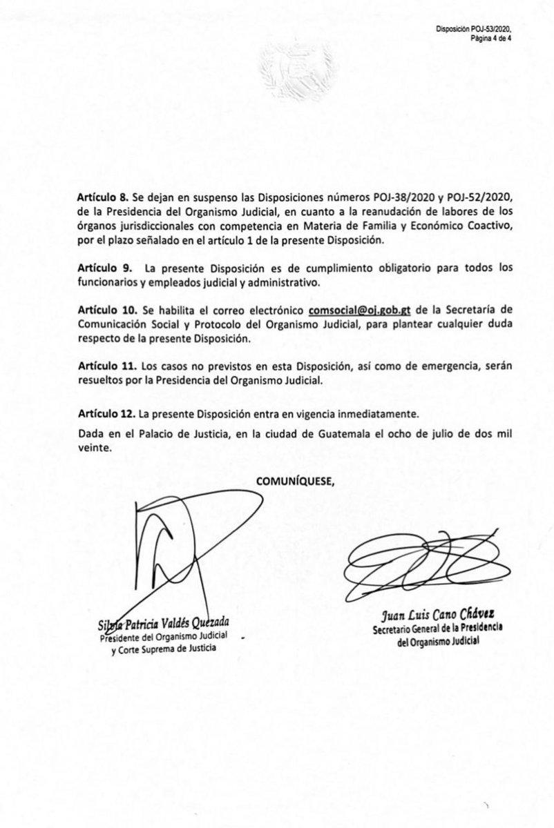 test Twitter Media - El OJ dio a conocer la disposición con la cual se suspenden labores a partir de mañana y hasta el 23 de julio. Laborarán algunas judicaturas, entre ellas los juzgados de Paz, Turno, Diligencias Urgentes en Guatemala y Salas de Apelaciones. https://t.co/wZTiVpqJ1g
