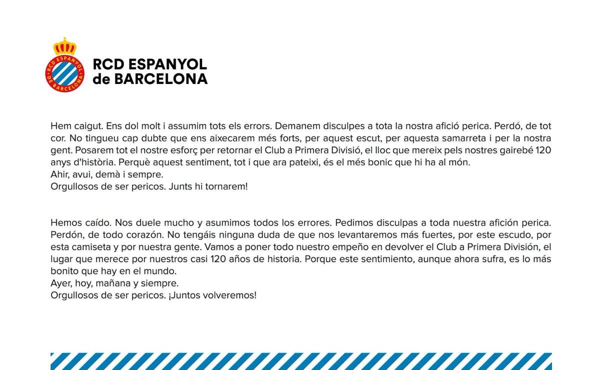 🔺Comunicado del @RCDEspanyol tras consumarse el descenso a Segunda División #Radioestadio #RCDEspanyol