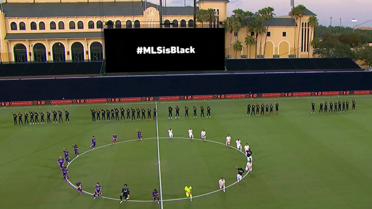 A powerful demonstration of unity by the @BPCMLS before this opening @MLS match in Orlando. #MLSisBlack