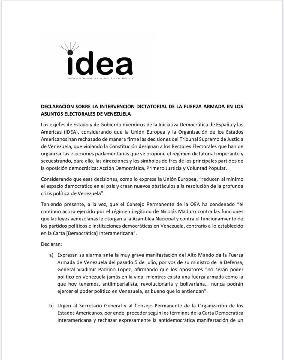 24 expresidentes de @IDEA_Grupo condenamos la Narcodictadura militar declarada en #Venezuela este 5 de julio, dÍa de la Independencia, efemérides civil para los venezolanos https://t.co/GIaoVlNnMd