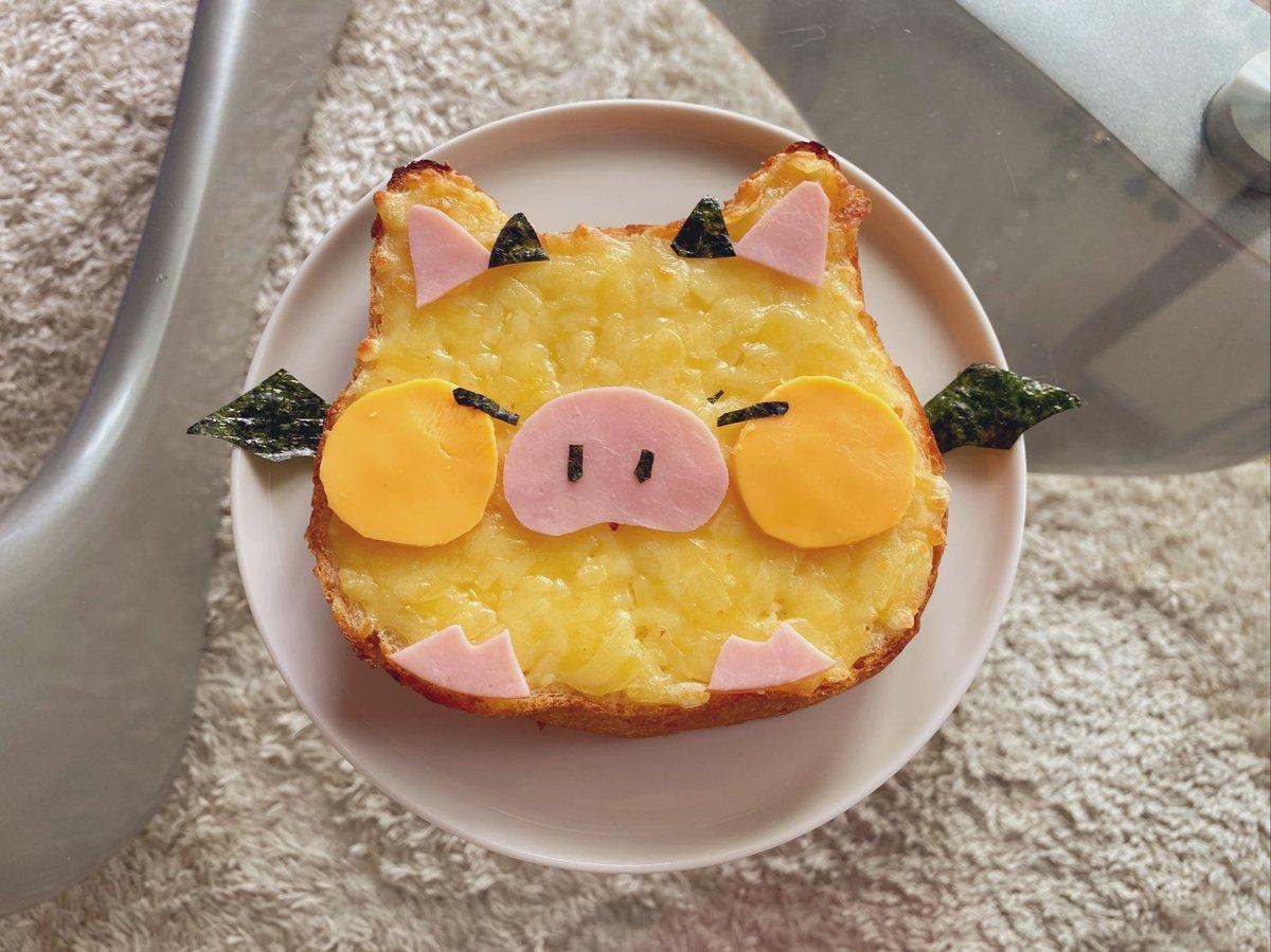 お昼ご飯、とんちゃんトースト!