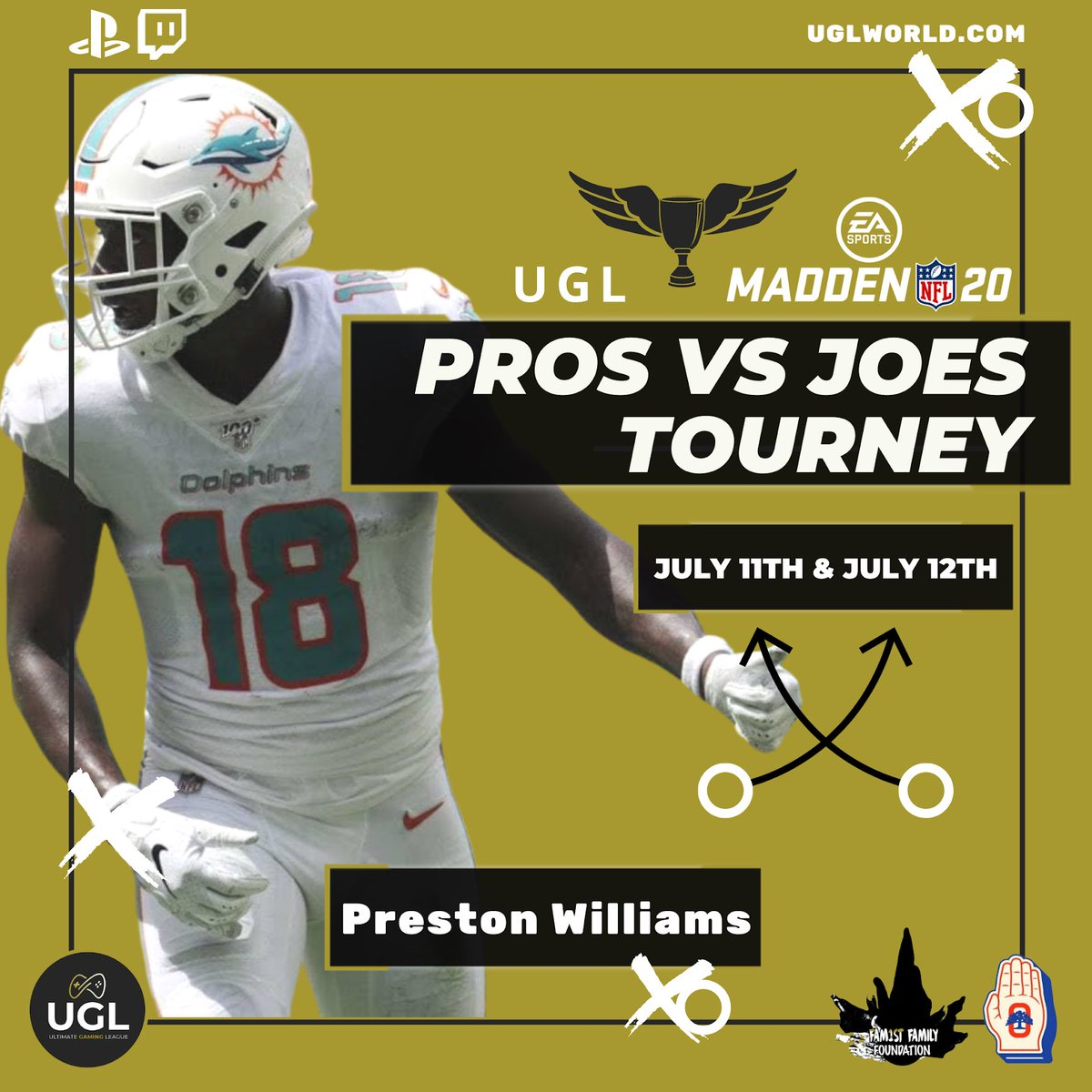 Preston Williams, Wide Receiver for Miami Dolphins , on the pro roster — Pros Vs Joes Tourney July 11th & 12th   The #ProsVsJoes tournament donations will provide support to Covid-19 Relief Funds via: @theoaklandpledge @fam1stfam  #UGL #ProsVsJoes #Covid19Relief #FamilyFirst pic.twitter.com/HjVKQGtWZ3