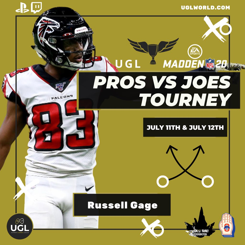 Russell Gage, Wide Receiver for Atlanta Falcons, on the pro roster — Pros Vs Joes Tourney July 11th & 12th   The #ProsVsJoes tournament donations will provide support to Covid-19 Relief Funds via: @theoaklandpledge @fam1stfam  #UGL #ProsVsJoes #Covid19Relief #FamilyFirst pic.twitter.com/dbKaKIOv4w