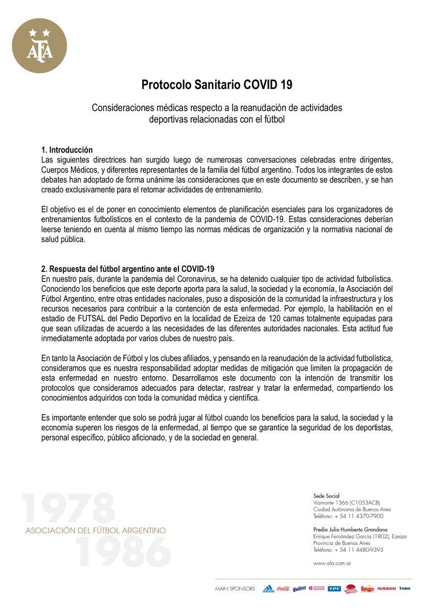 [#FútbolArgentino🇦🇷] Luego de la reunión de esta tarde vía Zoom, la comisión médica de la #AFA🇦🇷, máximo ente del fútbol argentino, definió el protocolo sanitario para que vuelvan los entrenamientos y competencias. Deberá ser aprobado por el Ministerio de Salud de la Nación. https://t.co/p2OnAih82Y