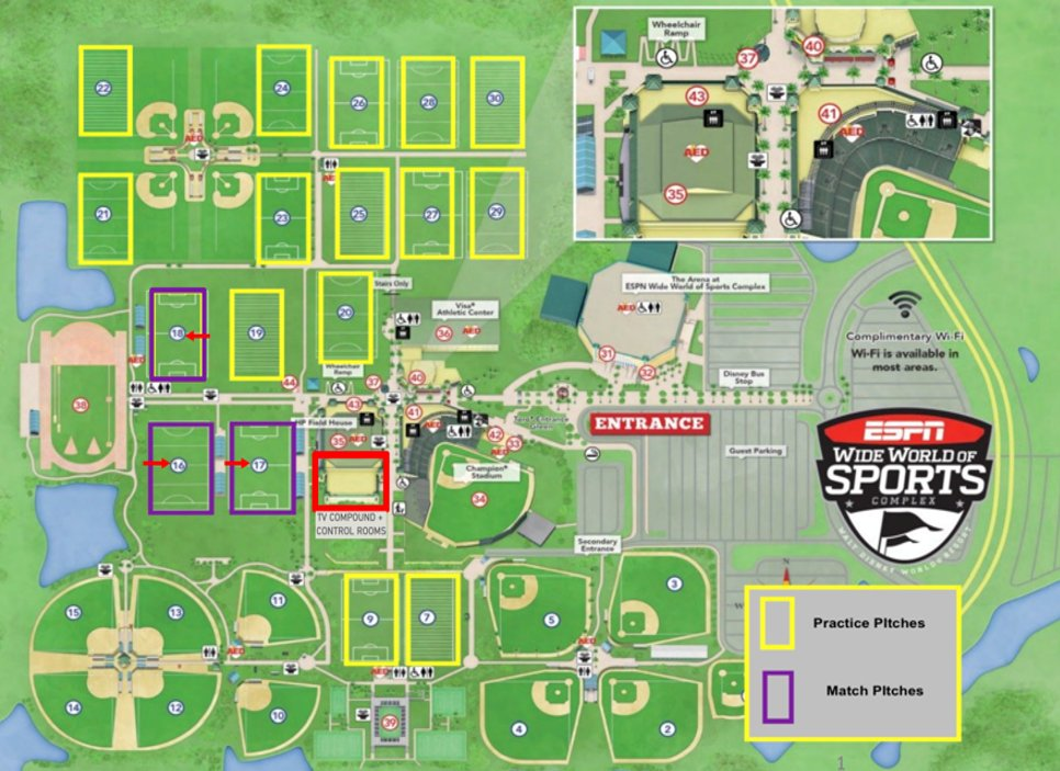 This layout of the @ESPNWWOS campus shows all the fields that are being used for #MLSIsBack. As Jon Champion noted, tonights #ORLvMIA opener is being played on Field 17. This will be the center of the sports world for a while w/ @MLS and #NBA starting here soon.