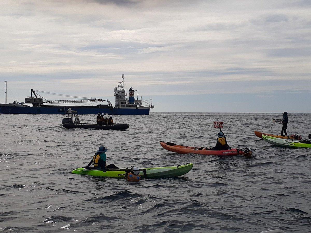 7月9日午前8時45分ごろ、名護市辺野古の埋め立て海域に近づく土砂運搬船に市民がカヌー4挺で抗議しています。「命の海を守って」と訴えています。運搬船はゆっくりと進んでいます。 #沖縄 #辺野古 https://t.co/pczwnNeWkz