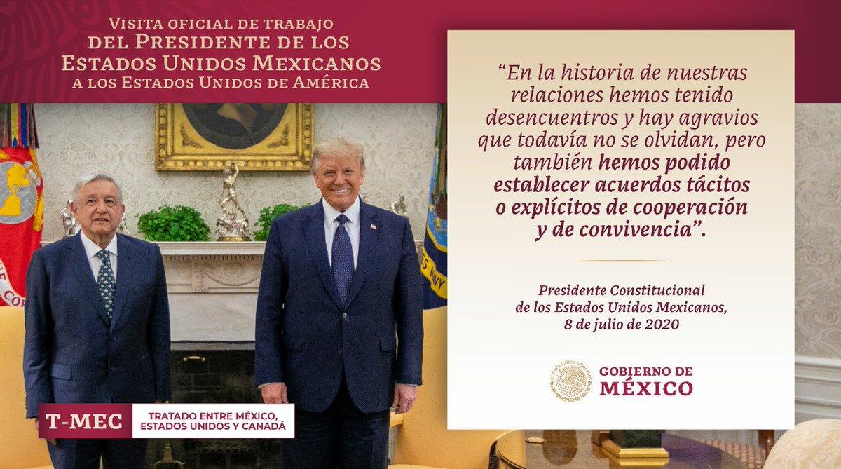 """""""…en la historia de nuestras relaciones hemos tenido desencuentros y hay agravios que todavía no se olvidan, pero también hemos podido establecer acuerdos tácitos o explícitos de cooperación y de convivencia"""": presidente @lopezobrador_ durante la #VisitaWashington"""