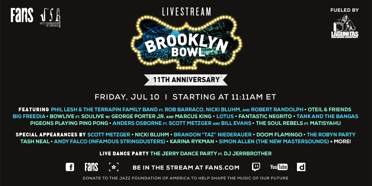 Our 11th Anniversary Livestream #lineup is here! Get ready for 11+ hours of music magic.Fueled by @lagunitasbeer and benefiting @JazzFoundation, this livestream will be the party of the year 🎉RSVP now at https://t.co/CrZCJ6lSEY https://t.co/o1QJcj5OdT