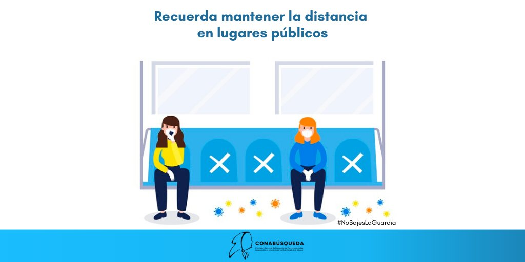 #Recomendaciones Debemos continuar y reforzar las medidas de prevención ante el COVID-19.  ➡️Mantengamos la distancia con las demás personas en lugares públicos.  #NoBajesLaGuardia